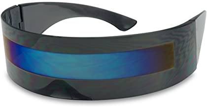 Black Retro Futuristic Single Shield Color Oversized Wrap Cyclops/Visor Sunglasses