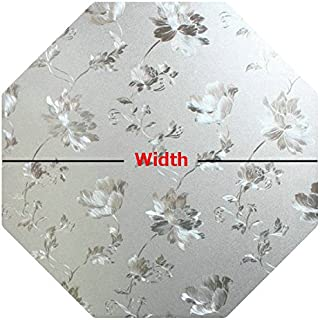 PROTINT WINDOWS Precut Floral Glass Privacy Octagon Window Film, Self Static Adhesive Cling, 20 inches Width