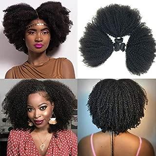 Brazilian Afro Kinky Curly Hair 8-22inch 4B4C 1 Bundle 100g Brazilian Virgin Remy Human Hair Weaves Natural Black Color (1 bundle 14inch, natural black)
