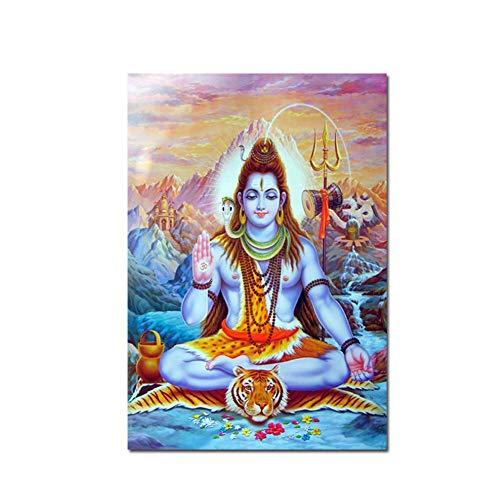 arteWOODSPinturas de Dioses hindúes en la Pared Cuadros para la Sala Cuadros modulares Shiva Lord Carteles e Impresiones Arte Decoración para el hogar -50x70cm sin Marco