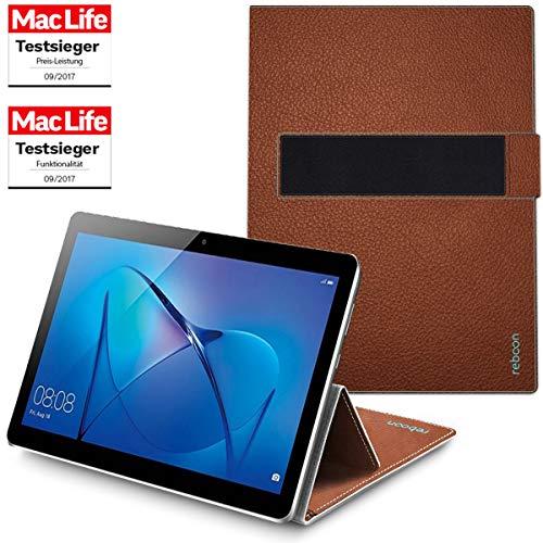 reboon Hülle für Huawei MediaPad M3 Lite 10 Tasche Cover Hülle Bumper | in Braun Leder | Testsieger