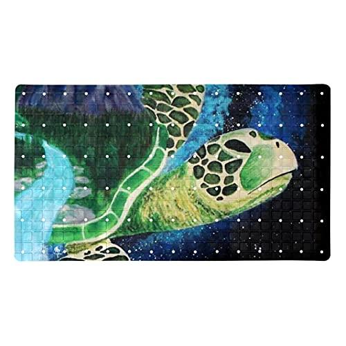 Alfombra de baño Alfombra de baño 14,7x26,9 Pulgadas Antideslizante,Galaxia Mundial Tortuga ,Alfombra de Ducha Suave y Absorbente con diseño para Sala de Estar,Ducha,SPA
