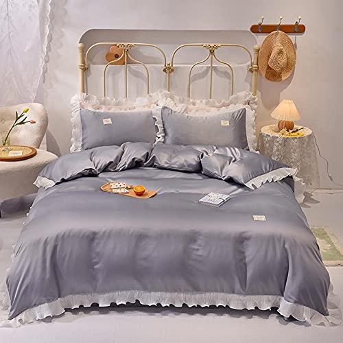 Bedding-LZ bettbezug 200x220,Seda Suave Blanca Princesa Viento Cuatro Conjuntos de Ropa de Cama de Verano-Di_1,5 m la Cama (4 Piezas)