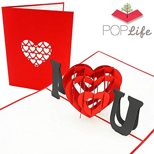 PopLife I Love You Heart 3D Pop Up Mother's Day Card - Anniversary Pop Up, Happy Birthday, Engagement, Valentine's Day Gift for Her - Folds Flat for Mailing - for Mother, for Daughter, for Wife