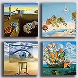 Cuadros modernos estilo Dali Dali Dali Salvador 4 piezas 40 x 40 cm Impresión sobre...