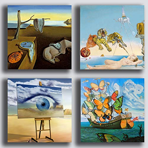 Cuadros modernos estilo Dali Dali Dali Salvador 4 piezas 40 x 40 cm Impresión sobre lienzo Canvas Decoración Arte Abstracto XXL Decoración para salón, dormitorio, cocina, oficina, bar restaurante