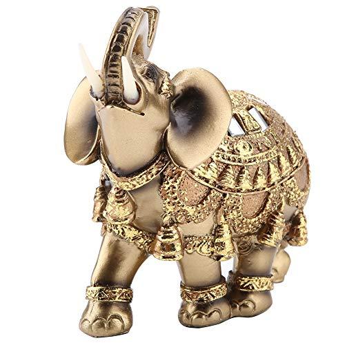 Goldene Polyresin Elefant Statue Skulptur Stamm Reichtum Glücklich Sammeln Figur Geschenk Home Decor Feng Shui Ornament(L)