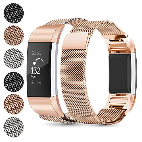 Alinsea Fitbit Charge 3 Armband, Metall Armband, Premium Edelstahl Sport Mit Metall einzigartiger Magnet Schnalle Lock Uhrband für Fitbit Charge3 Armbänder (S, Gold)