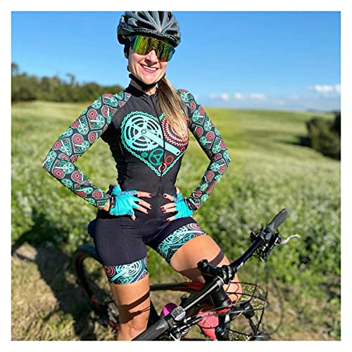 LYYJIAJU Ciclismo Skinsuit Suit Bicicletta da donna Skinsuit Cycling Triathlon Abiti tute a maniche lunghe Vestiti da bicicletta Tute (Color : A, Size : XL)