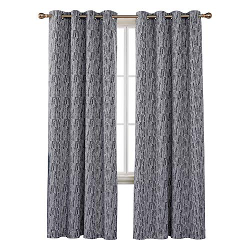 Deconovo Grommet Total Blackout Curtains with Triple-Pass White Coating Back Layer with Painting Pattern Thermal Insulated Window Curtains for Kids Room Navy Blue 2 Panels 52 X 95 Inch