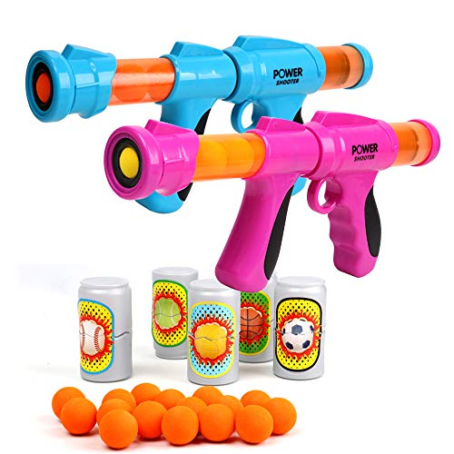 Fstop Labs 2 Pack Set Power Popper Gun with 16 Pcs Balls and 10 Pcs Bottle Targets, Dual Battle Pack Foam Ball Air Powered Shooter Toy Guns for Kids Role Playing Great Toy for Indoor and Outdoor
