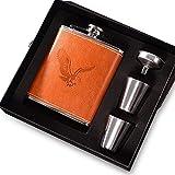 flasque alcool gainé de cuir en acier inoxydable parfait pour 7oz/200ml cadeaux hommes anniversaire