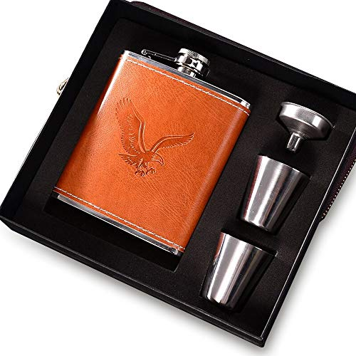 Flasque Alcool gainé de cuir en acier inoxydable Parfait pour 7oz/200ml Cadeaux Hommes anniversaire Anniversaire (Marron)