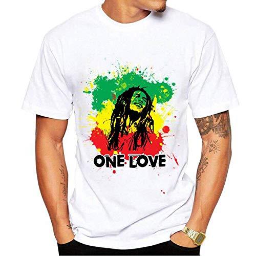 WEY T-Shirt, T-Shirt a Maniche Corte con Stampa Bob Marley, T-Shirt Casual per Uomo e Donna,A4,S
