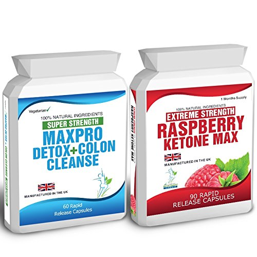 90 Raspberry Ketones Max Wild + 60 Colon Cleanse Detox (2500mg Daily Formula) Free Meal Plan & Dieting Tips Extreme Strength