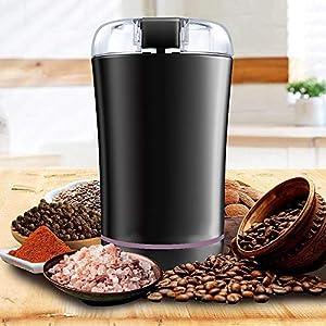 Molinillo de Café, Molinillo Rléctrico de Granos de Café con Hoja de Acero Inoxidable de Molienda Rápida para Nueces y Hierbas, Cable de Alimentación Desmontable y Cepillo Pequeño Incluido(negro)