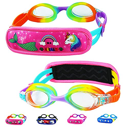 Swim Goggles For Kids 6-14, Kids Goggles for Swimming, Rainbow Swim Goggles with Strap Cover for Girls ( Mermaid & Unicorn )