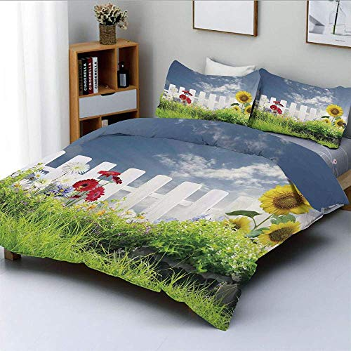 Duvet Cover Set,Grass Foliage Field with Sunflowers Daisy Hedge Fence Yard Jardin Decorative 3 Piece Bedding Set with 2 Pillow Sham,White Green Blue,Best Gift for Kids & Adult