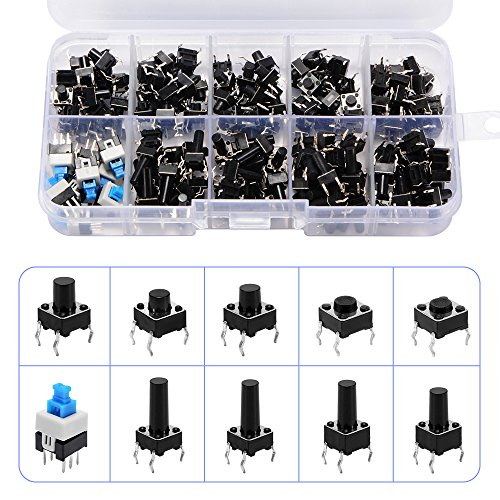 180pcs 10 Types Tactile Push Button Switch Micro Momentary Tact Assortment High Precision Kit 6x6x5mm-6x6x14mm