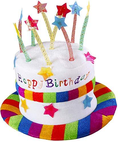 Widmann 2637h Chapeau Happy Birthday en Velours, Multicolore, Taille Unique