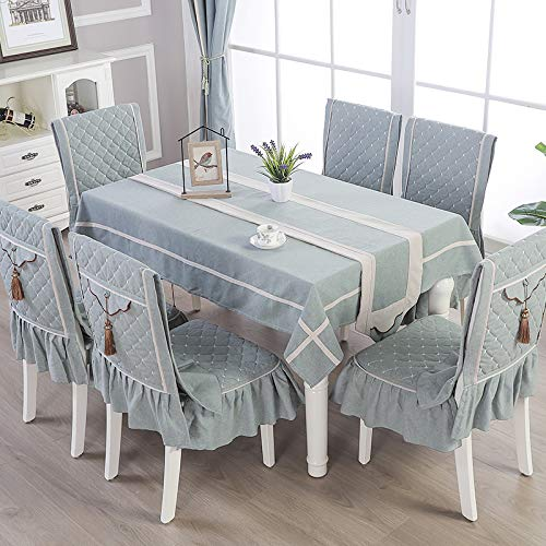 Creek Ywh hoogwaardige salontafel in Chinese stijl, tafelkleed van stof, rechthoekig, eenkleurig, goudkleurig - donkergroen, 4 kussens voor stoelen + tafelkleed 150 x 200 cm