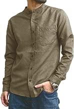Makkrom Mens Slim Fit Long Sleeve Shirts Linen Cotton Button Down Banded Collar Casual Summer Beach Shirt