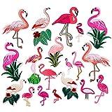 21 piezas, Parche termoadhesivo,pegatinas de tela bordadas,ropa de bricolaje,adecuada para abrigos,camisetas,jeans, combinación de flamencos