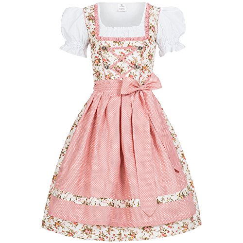 Gaudi-Leathers Damen Dirndl Kleid Dirndlkleid Trachtenkleid Midi Blümchenstoff Momo rosa 38