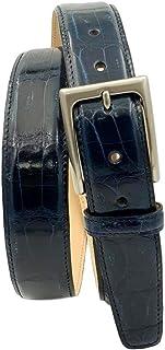 ESPERANTO Cintura in coda di coccodrillo altezza 3,5 cm, fibbia anallergica, fodera in fiore Nabuk