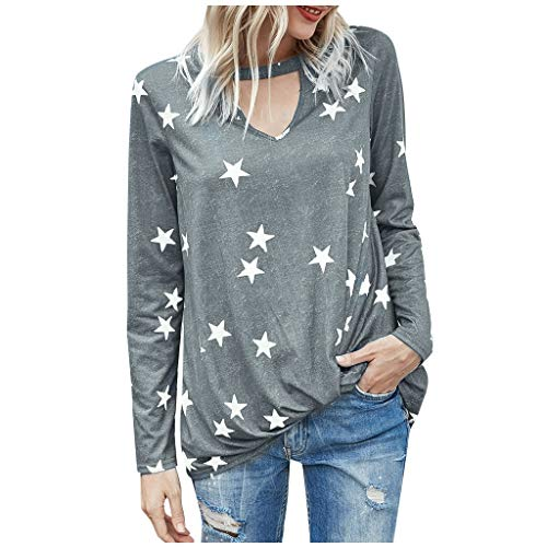 Dosoop Women's Casual Leopard/Stars/Camo V Neck Hollow Knotted Long Sleeve Knot Loose Pullover T-Shirt Tops