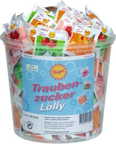 Frigeo Lutscher, Traubenzucker, sortiert (100 Stück), Sie erhalten 1 Packung á 100 Stück