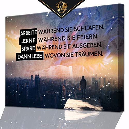 DotComCanvas® XXL Motivation-Wandbild für Erfolg | Leinwand direkt Aufhangbereit LIVE Like They Dream Deutsch (100 X 75 cm)