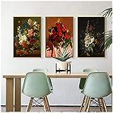 Bzdmly Décoration de la Maison Impression Toile Mur Art Affiche Huile Dessins Dessins peintures Image Bouquet de Fleurs dans Un Vase Couleurs Sombres 3 pcs -60x80 cm sans Cadre
