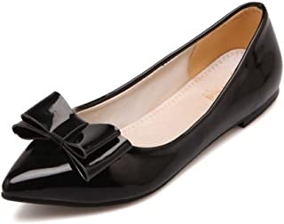 SJJH Plus Size 13.5 US Women Flats with Pointed Toe and Cute Bowtie Comfortable Working Flat Shoes