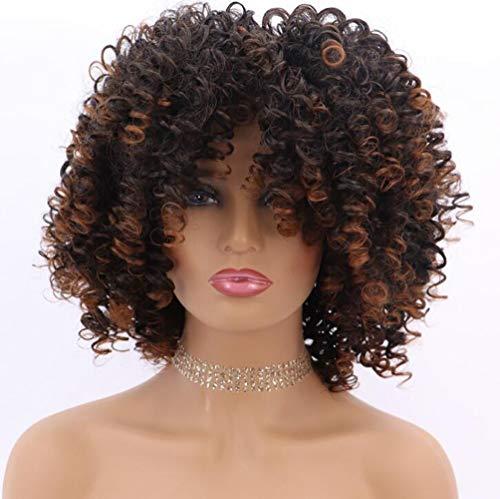 Perücke Afro Kinky Schwarze Damen Kurze wellige Perücken Locken Für Frauen synthetische Wig mit Pony Natürlich lockige Perücke,01