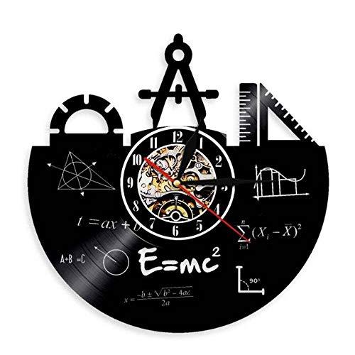 HIDFQY Fórmula matemática Arte de Pared Reloj de Pared Reloj de Registro de Vinilo teorema de Pitágoras Aula decoración de Pared cuadrática Regalo de Maestro sin LED