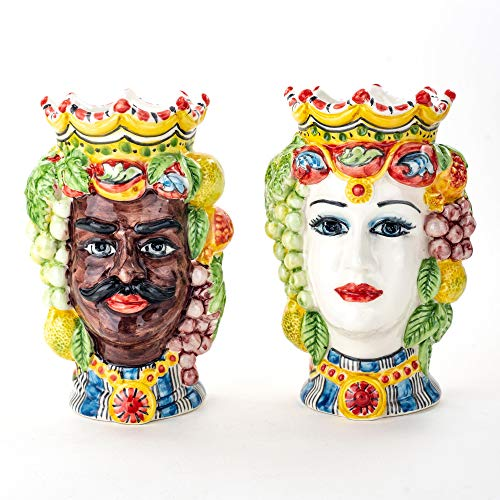 Ceramiche Azzaro & Romano Caltagirone Coppia Teste di Moro H cm 17 con Frutta Ceramica siciliana