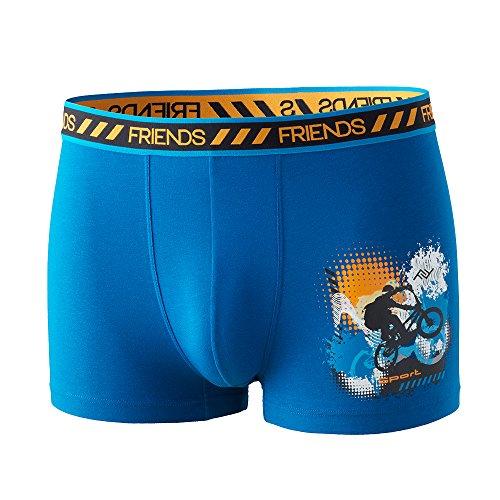 FRIENDS Biker Unterhose Boxershort Pant Underwear Jungen, Knaben, Kinder modisch witzig frech blau Radfahrer 95% Baumwolle (146)