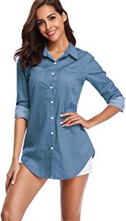 fuinloth Women's Chambray Button Down Shirt, Long Sleeve Cotton Blouse, Long Jeans Tunic Top