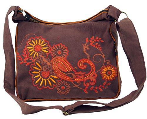 Guru-Shop Schultertasche, Hippie Tasche, Goa Tasche - Cappuccino/orange, Herren/Damen, Braun, Baumwolle, Size:One Size, 23x28x10 cm, Alternative Umhängetasche, Handtasche aus Stoff