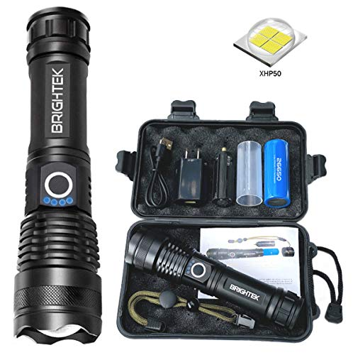 BRIGHTEK Rechargeable LED Flashlights High Lumens, XHP50 Most Powerful Tactical Flashlight, Bright Torch with USB charger & 26650 Battery, Waterproof, Zoomable, Best Camping Emergencies (1 Full Set)