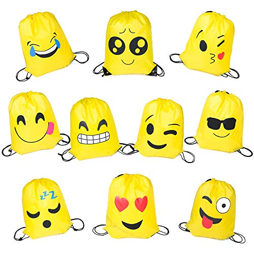 PROLOSO Pack of 10 Emoji Bags Drawstring Backpacks Theme Party Favors Supplies