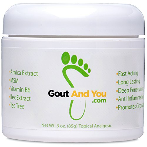 Therapeutic Gout Relief Cream with Arnica Extract, Ilex Leaf Extract, Aloe Vera and Tea Tree Oil.