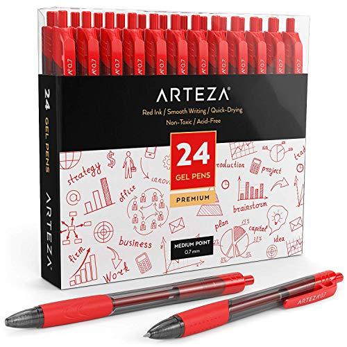 Arteza Gelstifte, 24 rote Kugelschreiber mit Geltinte, Druckgelschreiber mit einziehbarer 0,7 mm Stiftspitze, hochwertige Gelroller für Bürobedarf