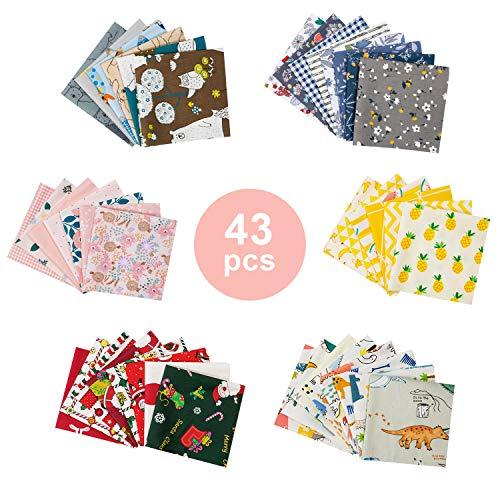 Tela Algodon Telas Patchwork, GuKKK 43 Piezas 25 x 25 cm Tela Algodon para Coser, DIY Floral Telas Patchwork Material, para la Decoración de Costura Artesanal Costura de Acolchado de Scrapbooking (43)