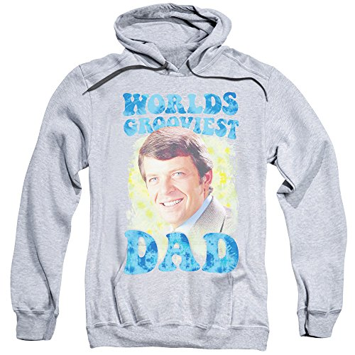 Brady Bunch Worlds Grooviest Unisex Adult Pull-Over Hoodie for Men and Women, X-Large Athletic Heather