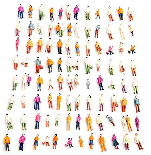 1:100 HO Scale Models People Set, Airlxf 100PCS DIY Resin Scale Figures Tiny People Sitting Mixed Painted Model People Colorful Seated Standing People Train Park Street Passengers Sitting Pose