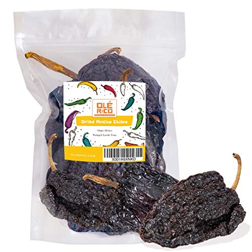 Dried Ancho Chiles Peppers 4.25 oz, Great For Sauce, Chili, Stews, Soups, Mole, Tamales, Salsa and Mexican Recipes By Ole Mission