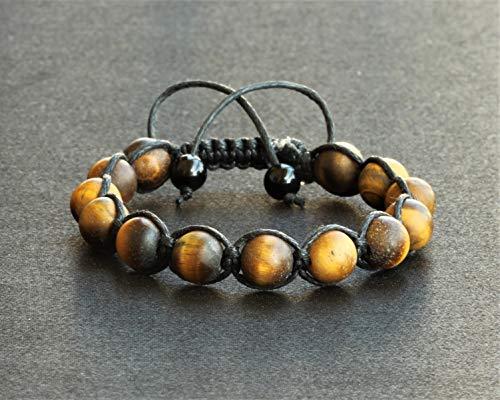Natural Tiger Eye Beads Bracelet Macrame Adjustable Bracelet Healing Gemstone Crystal Macrame Bracelets Healing Energy Yoga Gift for Him