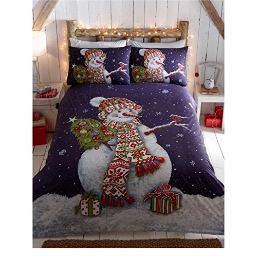 Happy Snowman Christmas Quilt Duvet Cover and 1 Pillowcase Bedding Bed Set, Blue, Single